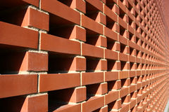 Red Bricked Wall. In Perspective royalty free stock image