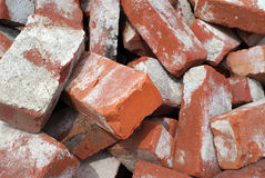 Red Bricks. Pile of old red bricks close up Stock Photography