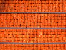 Red Bricks. Pattern of red bricks on shelf Royalty Free Stock Photos