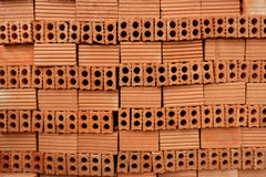 Red bricks for build in construction site. Stock Image