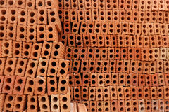 Red bricks for build in construction site. Stock Photography
