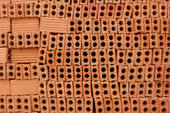 Red bricks for build in construction site. Royalty Free Stock Photos