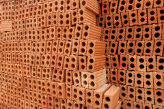 Red bricks for build in construction site. Stock Photos