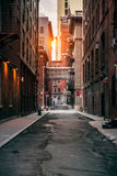 Red bricks building at New York City street at sunset time Royalty Free Stock Images