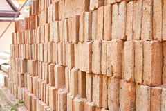 Red bricks at construction area Stock Images