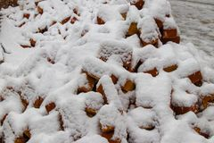 Red bricks covered with snow royalty free stock images