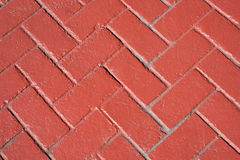 Red Bricks Herringbone Pattern Stock Photo