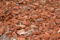 Bricks in a Demolished Pile Royalty Free Stock Images
