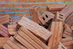 Red bricks material of construstion Stock Photo
