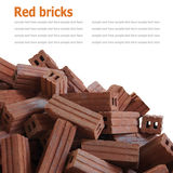 Red bricks material of construstion isolated on white background Stock Image