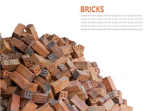 Red bricks material isolated on white background Royalty Free Stock Photo