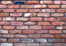 Red bricks. Old tumbled red bricks with mauve mortar Stock Image