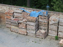 Red bricks pallet Royalty Free Stock Photo