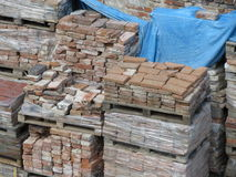 Red bricks pallet Stock Images