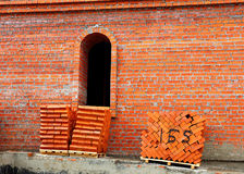 Red bricks on a pallets Stock Photography