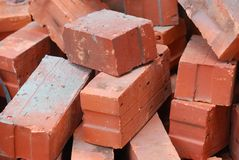 Red Bricks. A photos taken on some red bricks at a construction site Royalty Free Stock Photography