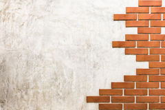 Red bricks on polished cement wall. Stock Images