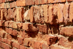Red bricks stacked in rows Stock Image