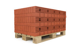 Red bricks stacked on wooden pallet Stock Photo