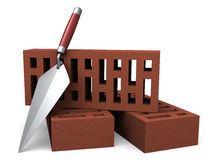 Red Bricks and trowel. An image of bricks and bricklaying tools on a white background stock illustration