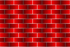 Red bricks - vector pattern. Brick wall - red background Stock Photo