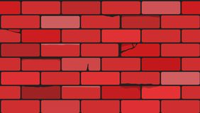 Red Bricks wall. Cartoon style. royalty free stock photos