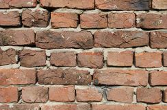 Red bricks in the wall close up Royalty Free Stock Image
