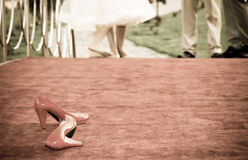 Red bridal shoes a Royalty Free Stock Photography