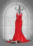 Red bridesmaid gown on coat rack Stock Photography