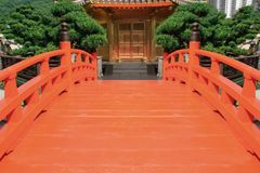 Red bridge. In a Chinese garden Royalty Free Stock Image