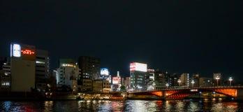 The red bridge accross Sumida River in Asakusa area. Royalty Free Stock Photo