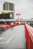 Red bridge across the Sumida river in Asakusa Japan Royalty Free Stock Image