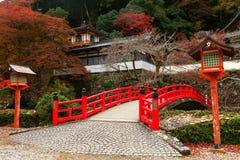 Red Bridge At Minoo Takianji Temple, Osaka Royalty Free Stock Photos