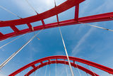 Red bridge. A beautiful red bridge under the blue sky Stock Photography
