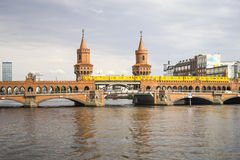Red Bridge in Berlin Germany Royalty Free Stock Photography