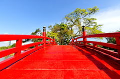 Red bridge in Chinese Garden Stock Image