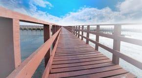 The red bridge and cloudy blue sky background. bridge cross the sea. Bangkok Thailand. stock photography