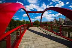 Red bridge in Greenland beside Gubei Road Bridge in Shanghai Stock Photo
