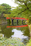 Red bridge in the grounds of Hirosaki Castle, Aomori, Japan. Stock Photography