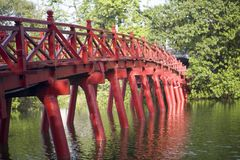 Red Bridge in Hanoi Royalty Free Stock Photography