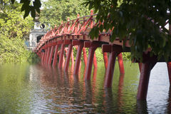 Red Bridge in Hanoi Stock Image