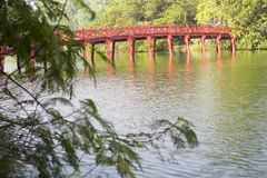 Red Bridge in Hanoi Stock Photography