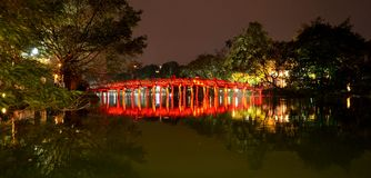 Red Bridge in Hoan Kiem Lake Ha Noi Vietnam Stock Image
