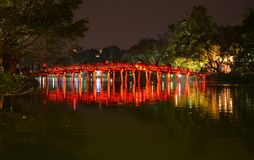 Red Bridge in Hoan Kiem Lake Ha Noi Vietnam Royalty Free Stock Photos