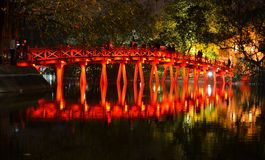Red Bridge in Hoan Kiem Lake, Ha Noi Vietnam Stock Photos