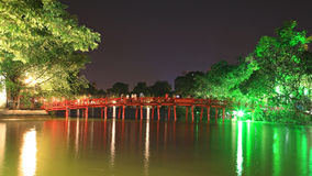 Red Bridge in Hoan Kiem Lake in Hanoi Royalty Free Stock Photos