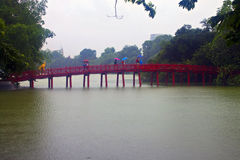 Red Bridge in Hoan Kiem Lake Stock Images
