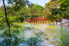 Red bridge in Hoan Kiem lake Hanoi Stock Image