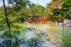 Red bridge in Hoan Kiem lake Hanoi. View of Hoan Kiem lake red bridge to pagoda stock image