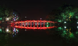 Red Bridge in Hoan Kiem Lake at Night Stock Image